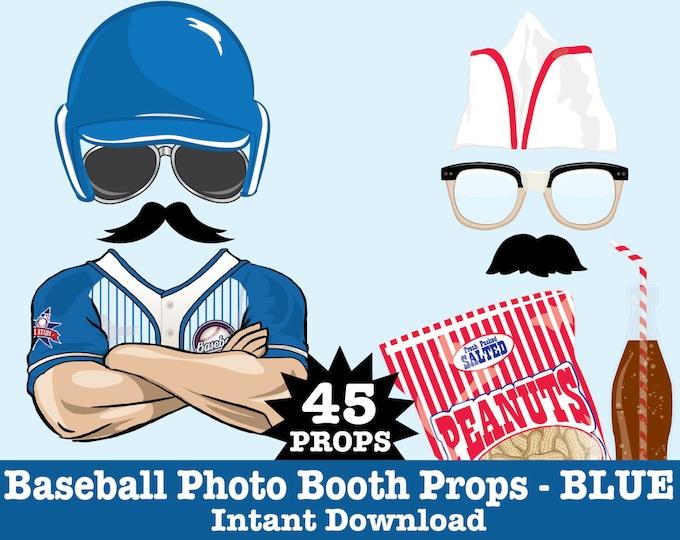 Baseball Photo Booth Props, Retro Baseball Party, Baseball Birthday, Vintage Baseball Party -  Instant Download PDF - 45 DIY Printable Props