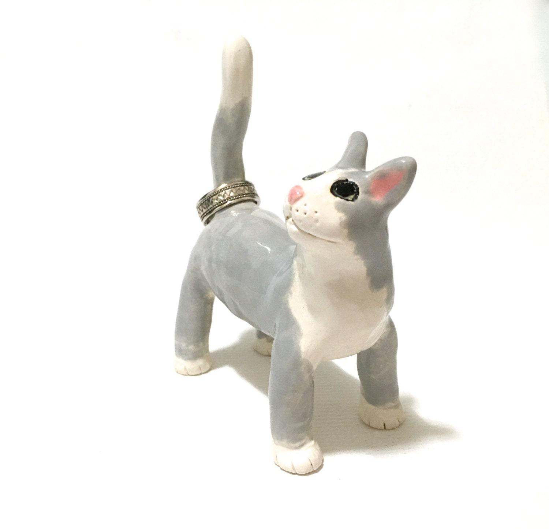 Amigurumi Kitty Ring Holder : Ceramic Cat Ring Holder Gray and White Cat Sculpture