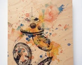 Wood Panel Star Wars Art BB8 Print on Wood 8x10 in Star Wars Art Print On Wood Panel BB8