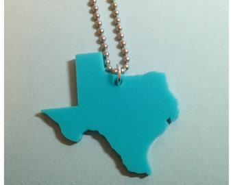 Large Size Texas Necklace in Turquoise Blue Acrylic Plastic, State Necklace