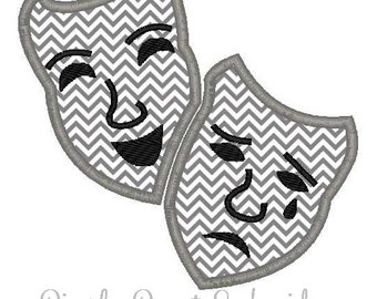 Comedy Tragedy Theater Masks Machine Embroidery Applique Design
