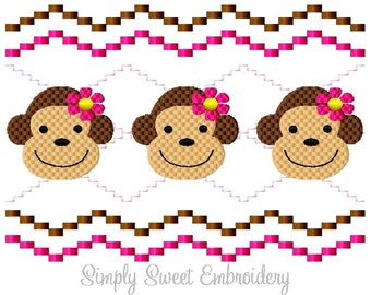 Girl Monkey Faux Smocking Machine Embroidery Design