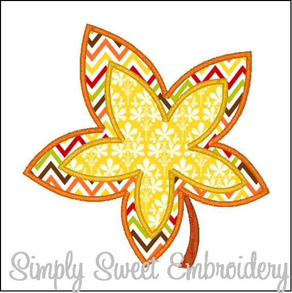 Leaf applique machine embroidery design by