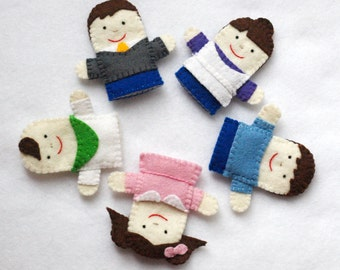 Finger Family Felt Puppets, Finger Family, Daddy, Mommy, Brother, Sister, Baby, Felt Puppet, Nursery Rhyme, Mother Goose, Finger Puppets