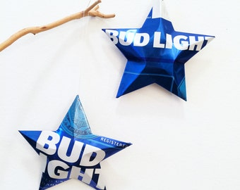 Bud Light Beer Star Can, Stars Christmas Ornaments Aluminum Can Upcycled Budweiser
