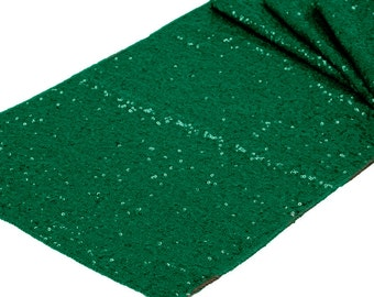Sequin Emerald Green Table Runner 12x108 Tablecloth