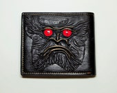 Leather credit card holder with dragon eyes face. Dragon eye black genuine leather wallet with monster face