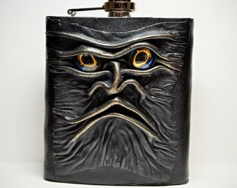 Leather flask.  7 oz Stainless Steel Liquor Alcohol Drink Hip Party Flask + Funnel. LARP. Gift for men
