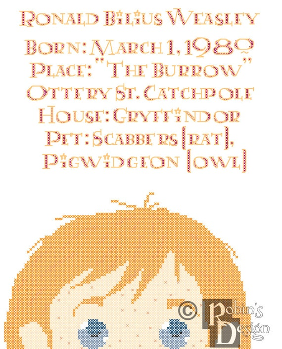 Ron Weasley Biographical Facts Cross Stitch Pattern PDF