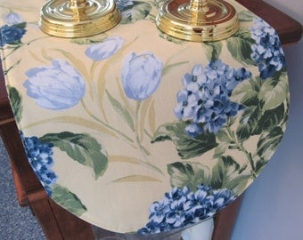 "Blue Hydrangea Table Runner 36"" Reversible  Yellow Table runner Shabby Chic Table Runner Yellow Table Runner Soft Blue Table Runner"
