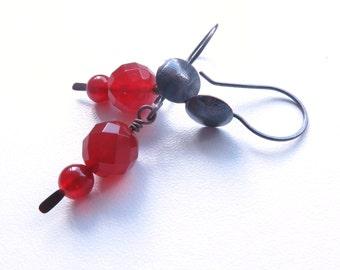 Carnelian rust colour dangle handmade copper hook earrings australian jewellery