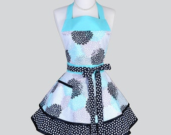 Ruffled Retro Apron / Cute Full Flirty Kitchen Womans Apron in Vintage Style Aqua Black Khaki Mums and Polka Dots Personalize or Monogram