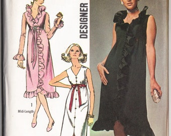 Vintage 1970 Simplicity 9110 UNCUT Sewing Pattern Designer Fashion Misses' Evening Dress in Two Lengths Size 8 Bust 31-1/2