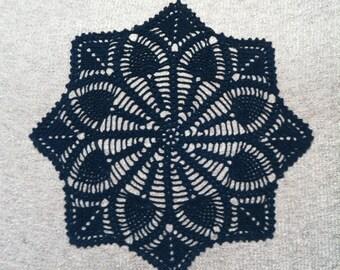 D-56. Doily / 38 cm / pineapple / black  / Crochet / Round Doily / Lace Doily / crochet doily