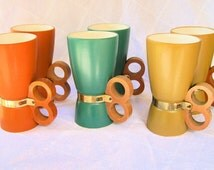 Vintage Mid Century Danish Modern Ceramic Mug SET-Tiki Stoneware-Knuckle Handle