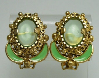 Enameled Flower Green Cabochon Earrings