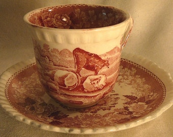 Red Transfer Staffordshire Tea Cup & Saucer Adams English Scenic Pink