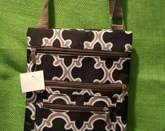 Monogrammed Moroccan black and gray crossbody bag