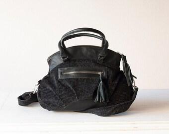 Handbag black corduroy,messenger,crossover bag,cross body purse with black leather - Arethusa bag