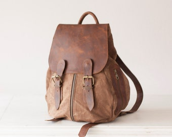 Large backpack in wax canvas and brown leather, women  everyday backpack travel purse back bag - Artemis backpack