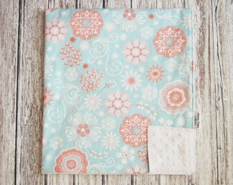 Aqua and Coral Baby Blanket, Coral Flower Baby Blanket, Minky Baby Blanket, Coral and Aqua Baby Blanket