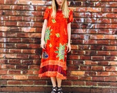 Vintage Red Side Button Bohemian Dress