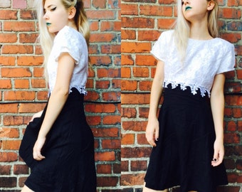 Vintage Black and White Mini Dress