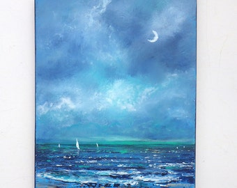 Night sky sailing painting, sailboat with crescent moon ocean painting, 11x14 peaceful beach