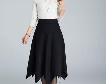 designer clothing, wool skirt, black skirt, high waisted skirt, plus size skirt, swing skirt with asymmetrical Hem , A line skirt  1632