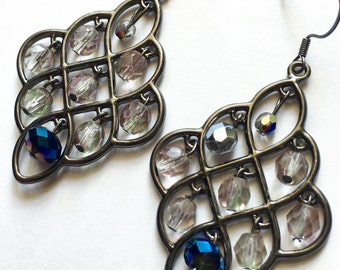 Crystal Earrings, Gunmetal, silver, blue, and purple colors