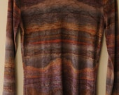 velvet print 60s 70s long sleeve t-shirt top, amazing pattern, purples, hipster hippy s -xs