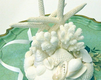 Beach Wedding Cake Topper with Starfish, Shells and Coral