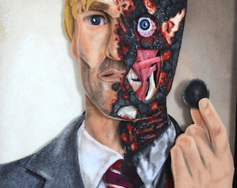 Two Face Collectible Mixed Media Art Felt Portrait Batman 16x20