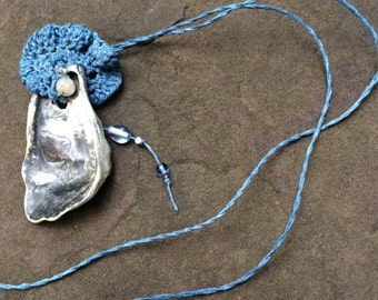 Oyster Shell Necklace, Blue Fiber with Pearl, Beach Wear, Long Sexy Necklace SHL7