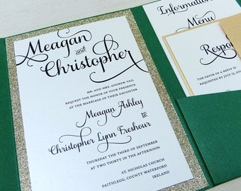 Emerald Green and Gold Glitter Wedding Invitation set -- Pocket Wedding Invite