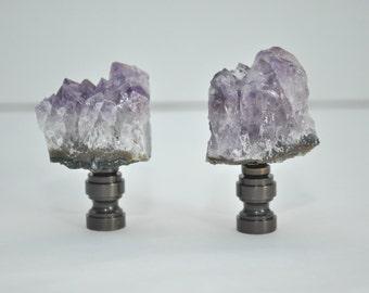 Lamp Finial Pair - Large Natural Amethyst Geode Chunks