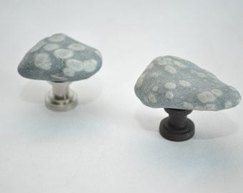 Turtle Rocks - Choose Your Hardware - Beach Rock Cabinet Knobs - Set of 2