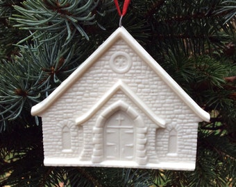 Log Cabin Community Church porcelain ORNAMENT, Vinings, Georgia / FREE SHIPPING
