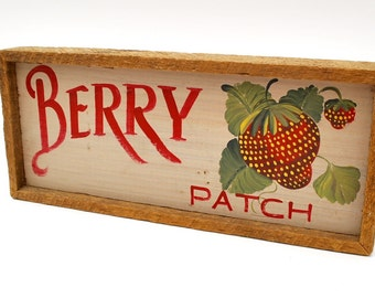 Vintage strawberry sign Berry patch wood sign hand painted strawberries rustic farmhouse sign
