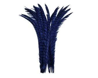 """Long Feathers, 5 Pieces - 30-35"""" NAVY BLUE ZEBRA Lady Amherst Pheasant Tail Super Long Feathers : 3995"""