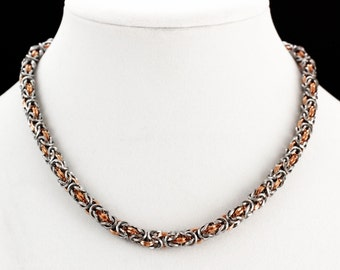 Square On Edge Stainless Steel and Copper Byzantine Chainmaille Necklace