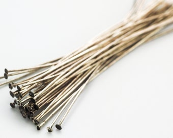 Sale 100 Antique Silver Plated Head Pins 21 gauge 3 inches - Two Toned Vintage Look - 100% Guarantee