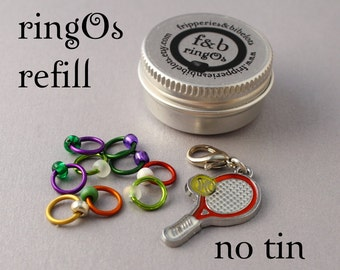 ringOs REFILL - Anyone for Tennis? - Limited Edition Snag-Free Ring Stitch Markers for Knitting