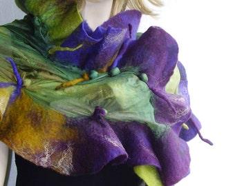 Nuno felted  Silk Wool Scarf Plum  Violet Petrol  Mustard  Olive green Attractive Ruffled Textured Wool Silk Felted Scarf