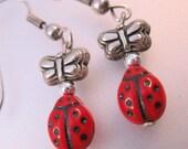 Lady Bug Butterfly Sterling Silver Dangle Drop Earrings Glass Vintage Jewelry Jewellery