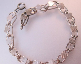 """15% OFF SALE Vintage Heart Starter Charm Bracelet Sterling Silver Double Loop or Double Curb Chain 7"""" Jewelry Jewellery"""
