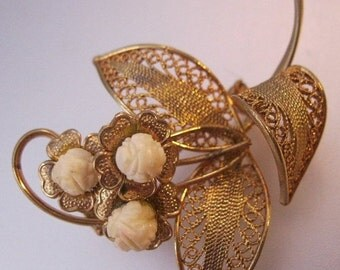 BIGGEST SALE of the Year Vintage Cannetille Filigree Flower Brooch Pin Hand Carved Costume Jewelry Jewellery