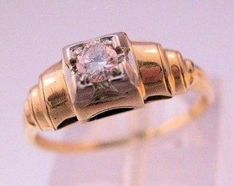 10% OFF SALE 1930s Art Deco 14k Diamond .13ct Engagement Ring Size 6 1/2 Vintage Fine Jewelry