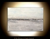 Abstract Landscape Large Painting Gray White Original Modern Contemporary Art Seascape 24 X 36 Oil Painting by Sky Whitman