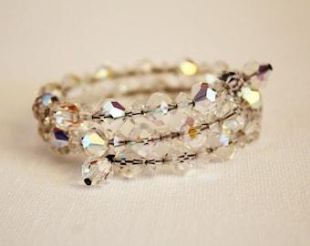 Vintage 'Aurora Borealis' Glass Crystal Coil Bracelet